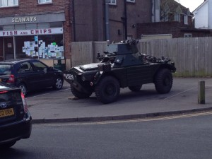 Armoured car outside Bovingdon Chip shop 2013